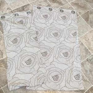 """IKEA Off White Abstract Floral Curtains 97"""""""